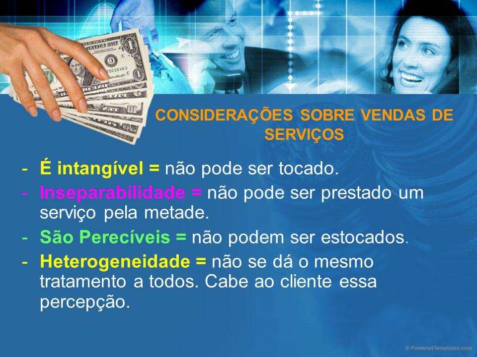 CONSIDERAÇÕES SOBRE VENDAS DE SERVIÇOS