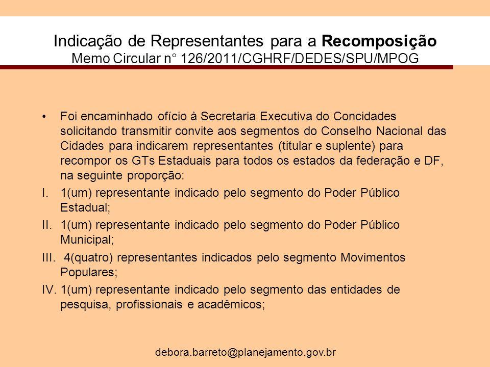 Indicação de Representantes para a Recomposição Memo Circular n° 126/2011/CGHRF/DEDES/SPU/MPOG