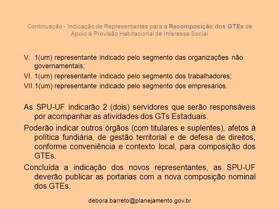 Continuação - Indicação de Representantes para a Recomposição dos GTEs de Apoio à Provisão Habitacional de Interesse Social