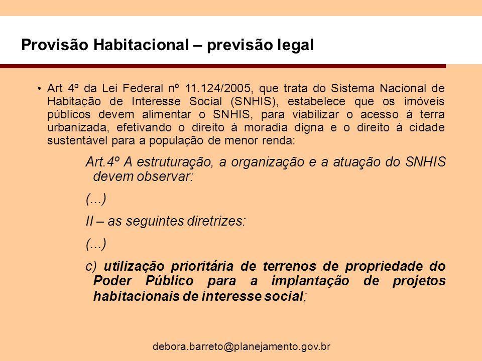 Provisão Habitacional – previsão legal