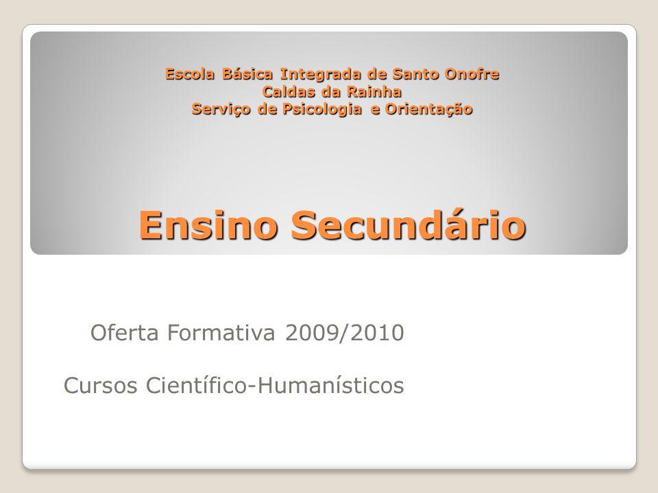 Oferta Formativa 2009/2010 Cursos Científico-Humanísticos