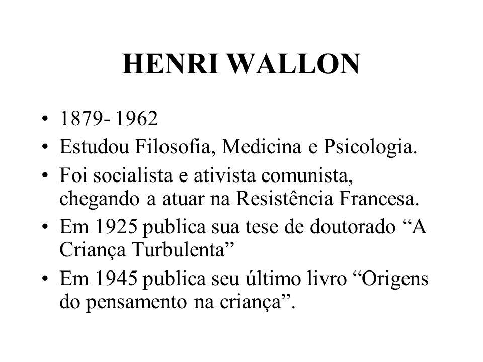 HENRI WALLON 1879- 1962 Estudou Filosofia, Medicina e Psicologia.