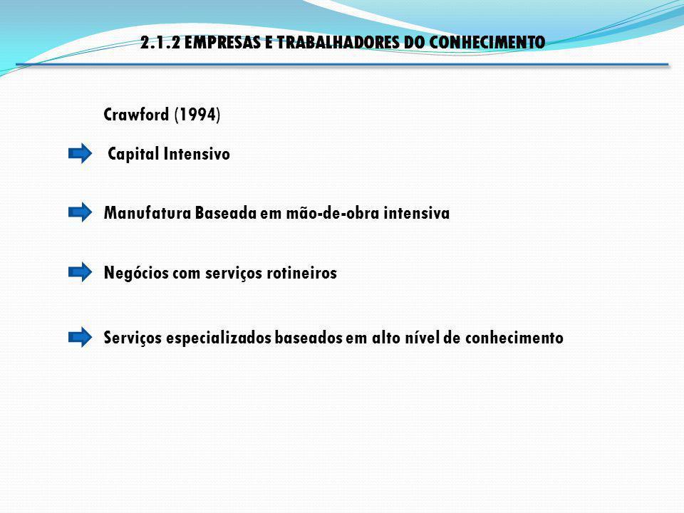 2.1.2 EMPRESAS E TRABALHADORES DO CONHECIMENTO