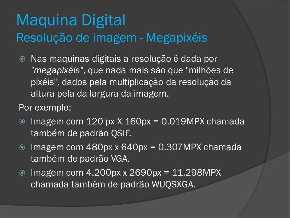 Maquina Digital Resolução de imagem - Megapixéis