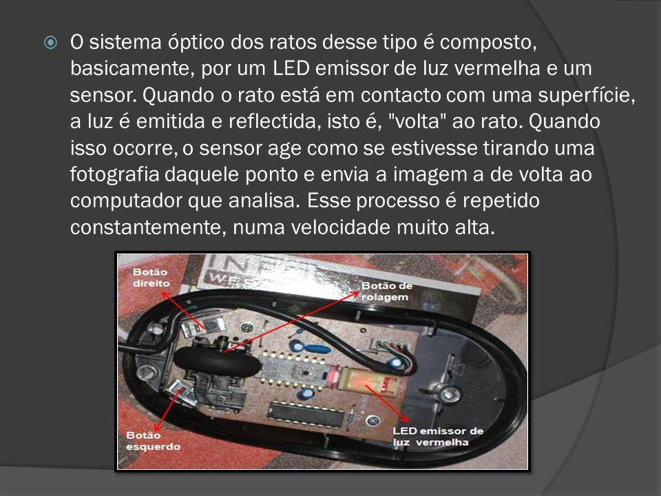 O sistema óptico dos ratos desse tipo é composto, basicamente, por um LED emissor de luz vermelha e um sensor.