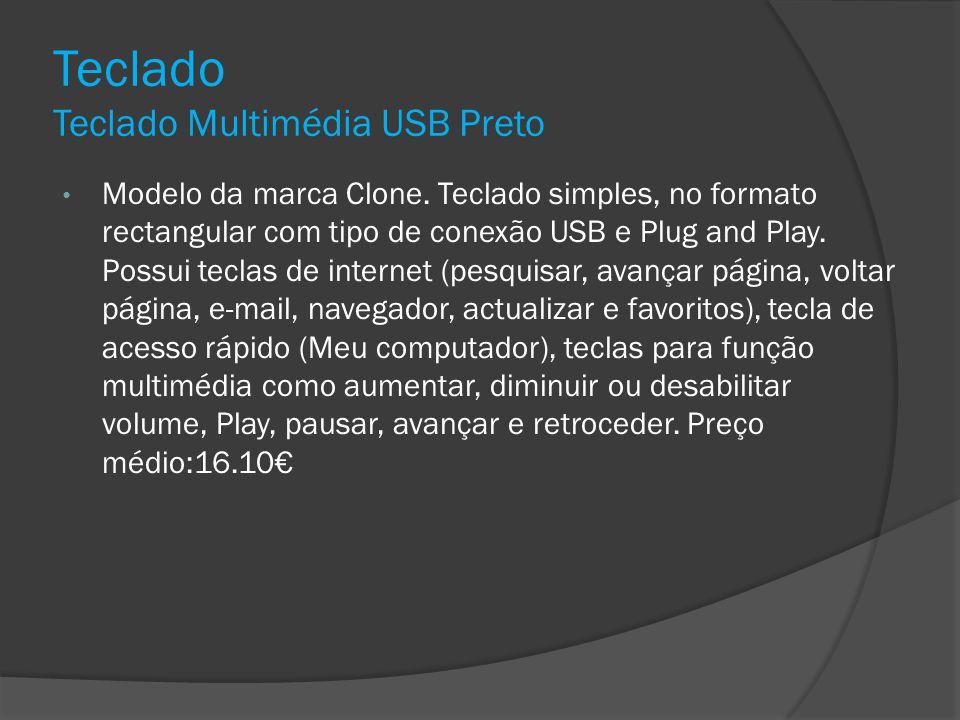 Teclado Teclado Multimédia USB Preto
