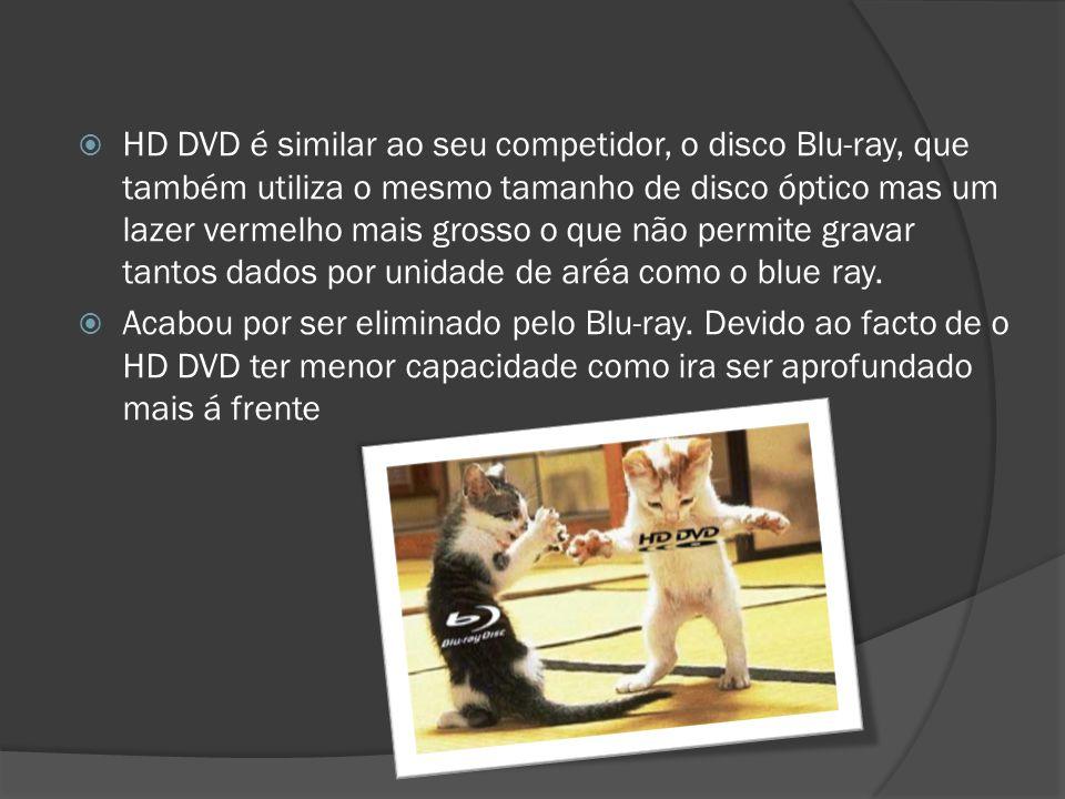 HD DVD é similar ao seu competidor, o disco Blu-ray, que também utiliza o mesmo tamanho de disco óptico mas um lazer vermelho mais grosso o que não permite gravar tantos dados por unidade de aréa como o blue ray.