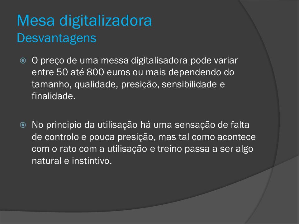 Mesa digitalizadora Desvantagens