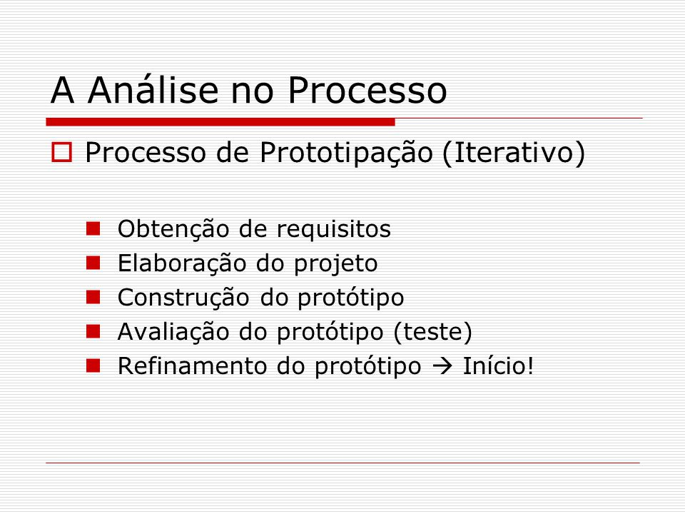 A Análise no Processo Processo de Prototipação (Iterativo)