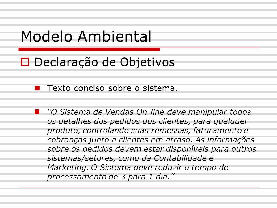 Modelo Ambiental Declaração de Objetivos