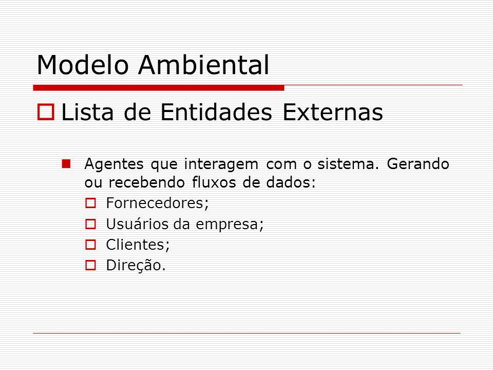 Modelo Ambiental Lista de Entidades Externas