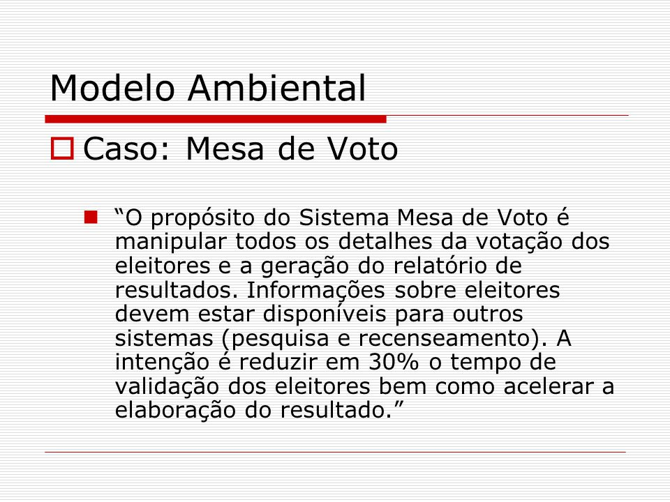 Modelo Ambiental Caso: Mesa de Voto