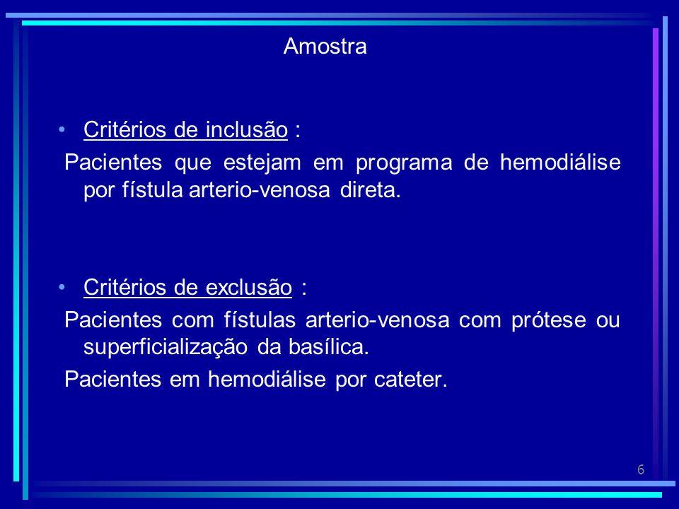 Amostra Critérios de inclusão : Pacientes que estejam em programa de hemodiálise por fístula arterio-venosa direta.
