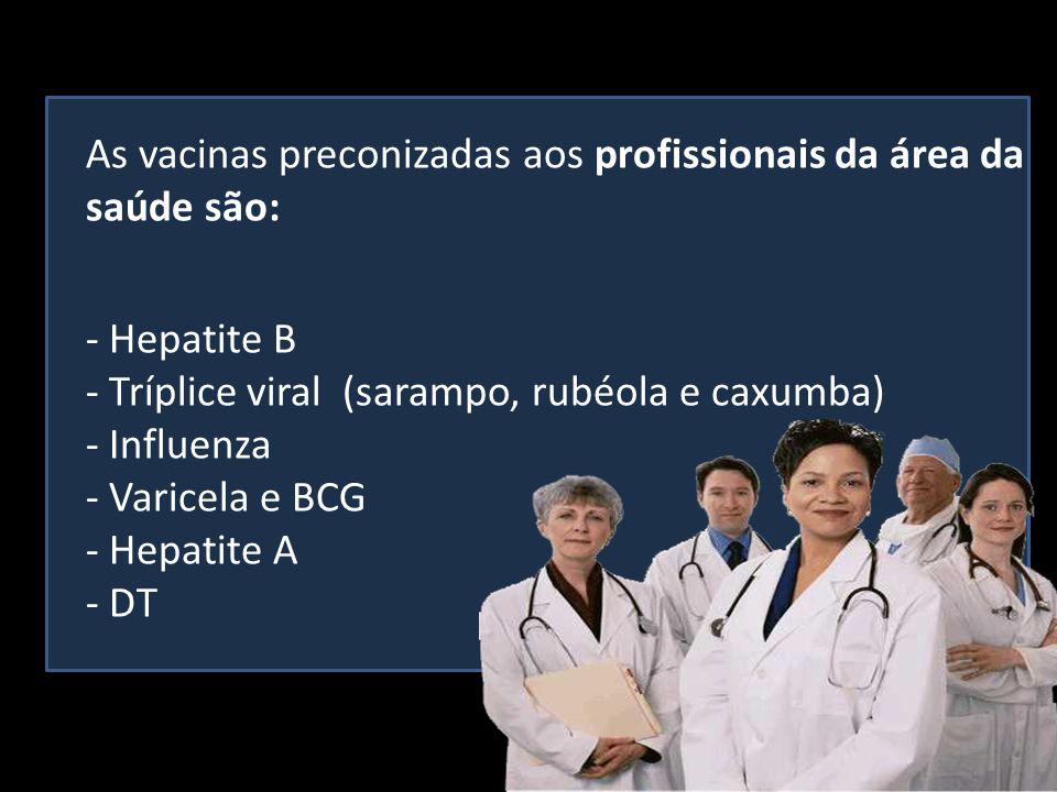 As vacinas preconizadas aos profissionais da área da saúde são: