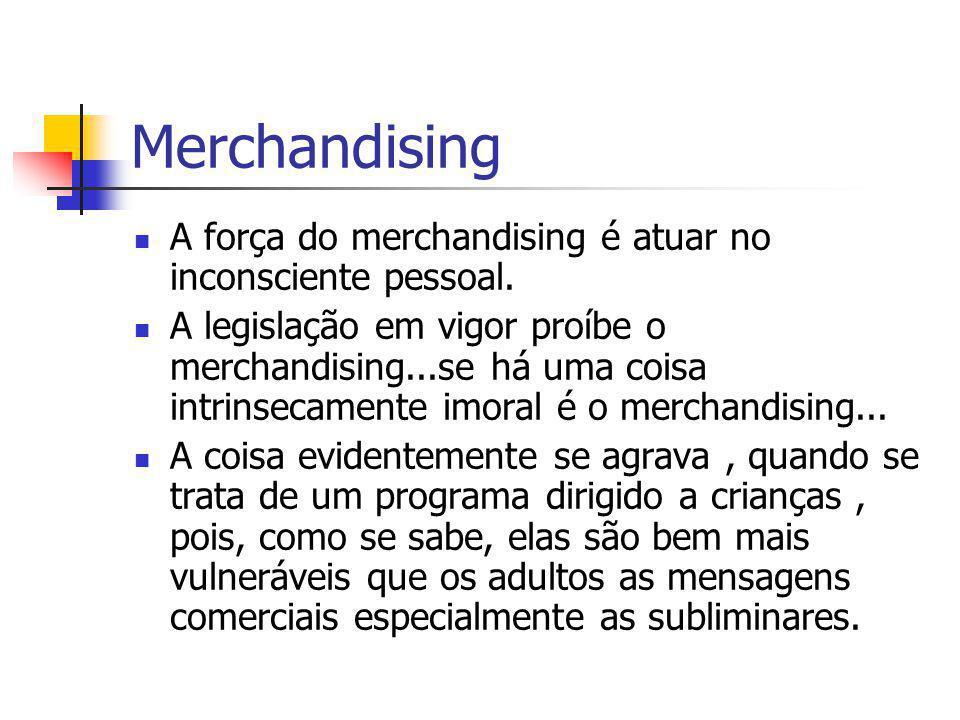 Merchandising A força do merchandising é atuar no inconsciente pessoal.