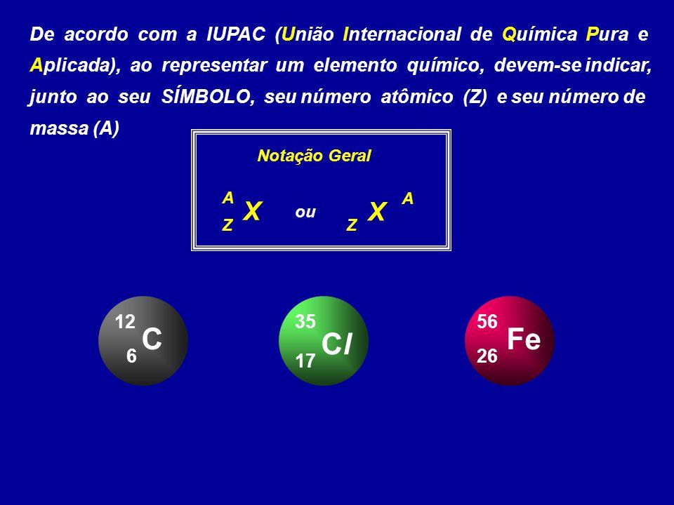 De acordo com a IUPAC (União Internacional de Química Pura e Aplicada), ao representar um elemento químico, devem-se indicar, junto ao seu SÍMBOLO, seu número atômico (Z) e seu número de massa (A)