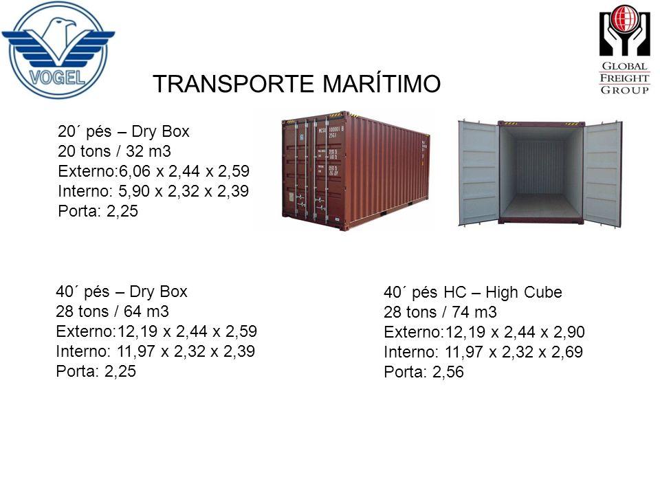 TRANSPORTE MARÍTIMO 20´ pés – Dry Box 20 tons / 32 m3