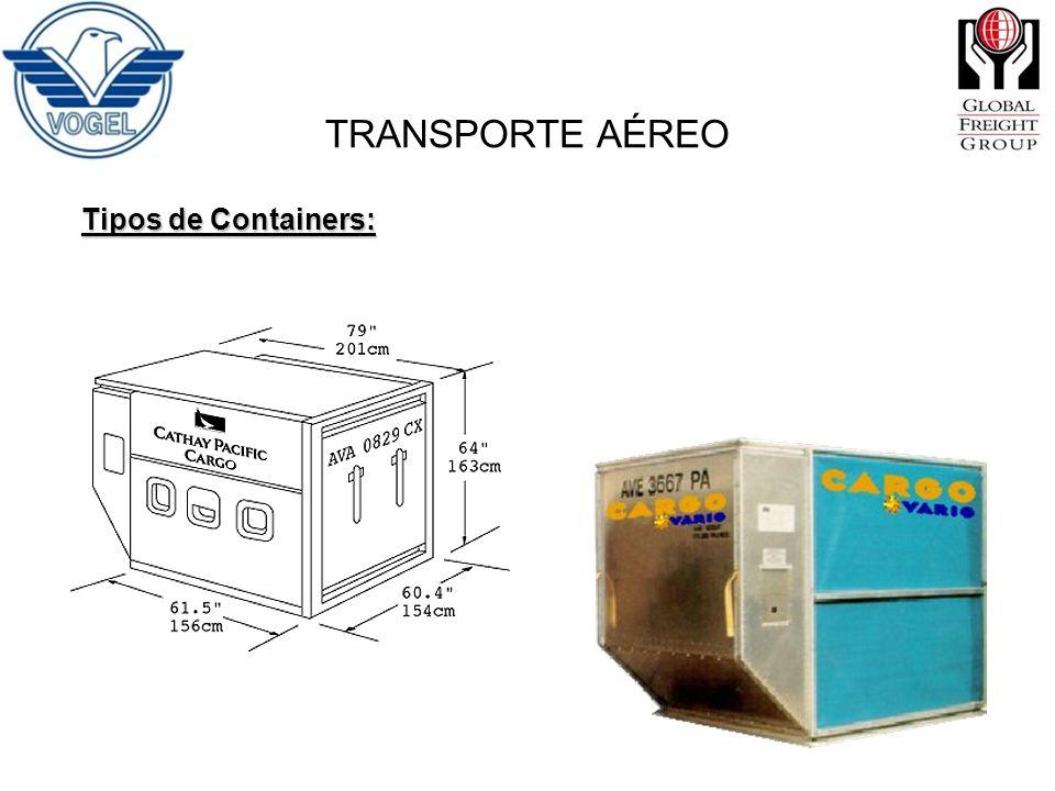 TRANSPORTE AÉREO Tipos de Containers: