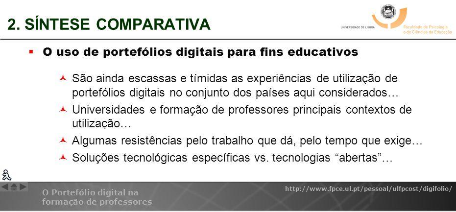 2. SÍNTESE COMPARATIVA O uso de portefólios digitais para fins educativos.