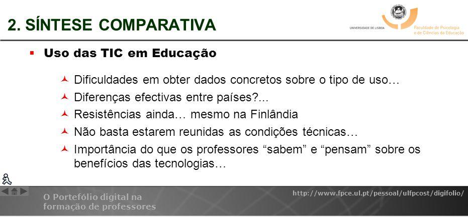 2. SÍNTESE COMPARATIVA Uso das TIC em Educação