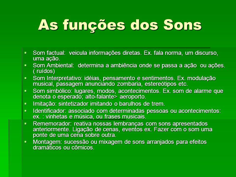 As funções dos Sons Som factual: veicula informações diretas. Ex. fala norma, um discurso, uma ação.