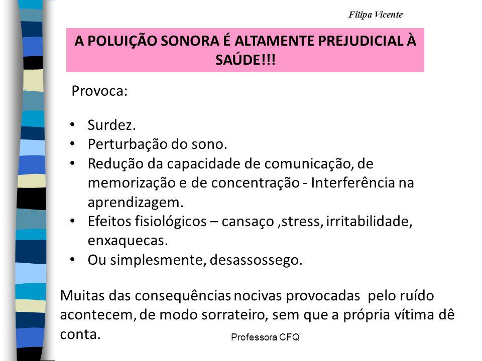 A POLUIÇÃO SONORA É ALTAMENTE PREJUDICIAL À SAÚDE!!!