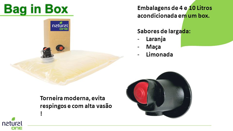 Bag in Box Embalagens de 4 e 10 Litros acondicionada em um box.
