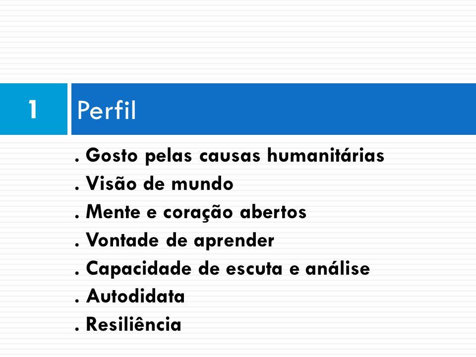 Perfil 1 . Gosto pelas causas humanitárias . Visão de mundo