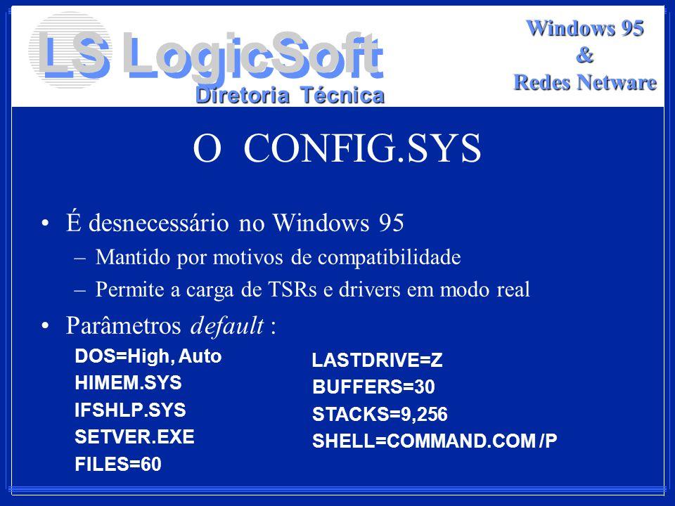 O CONFIG.SYS É desnecessário no Windows 95 Parâmetros default :