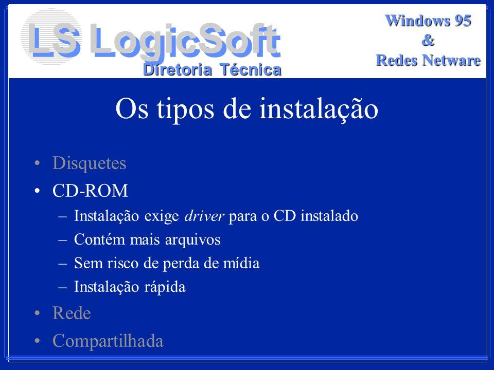 Os tipos de instalação Disquetes CD-ROM Rede Compartilhada