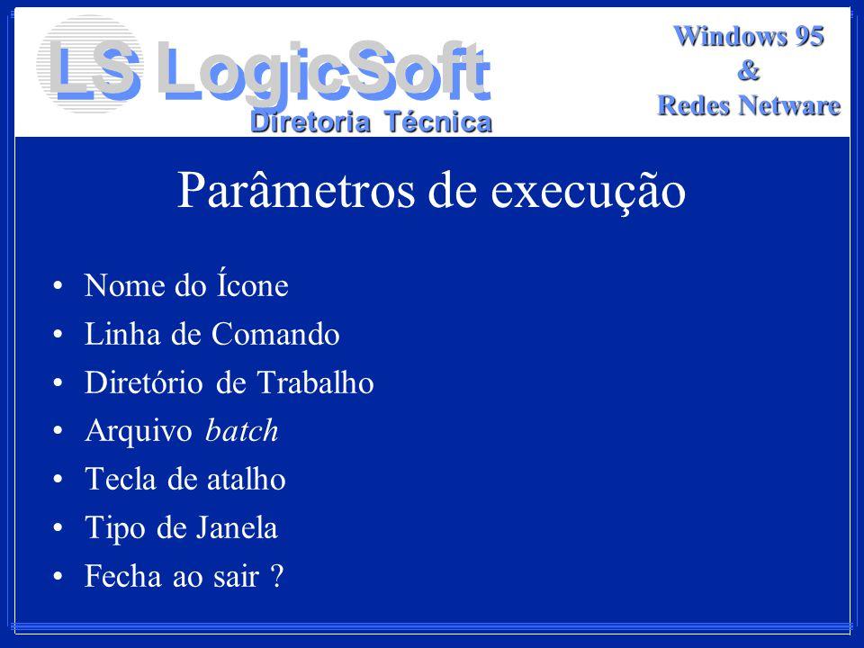 Parâmetros de execução