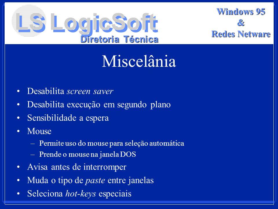 Miscelânia Desabilita screen saver