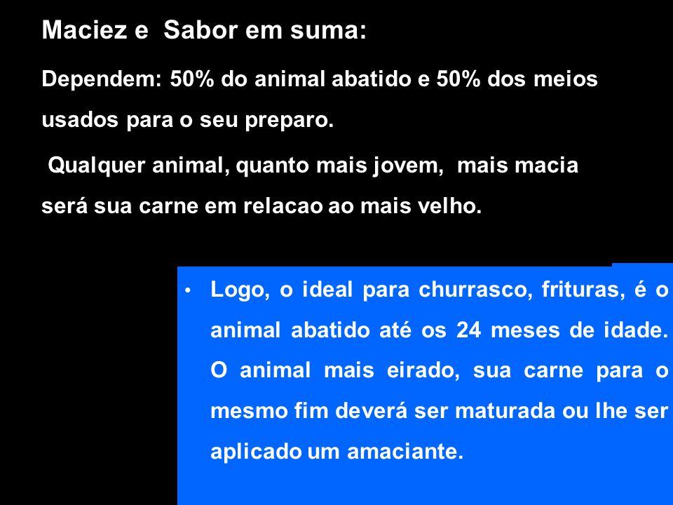 Maciez e Sabor em suma: Dependem: 50% do animal abatido e 50% dos meios usados para o seu preparo.