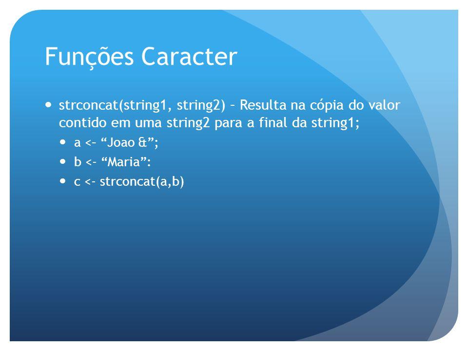 Funções Caracter strconcat(string1, string2) – Resulta na cópia do valor contido em uma string2 para a final da string1;