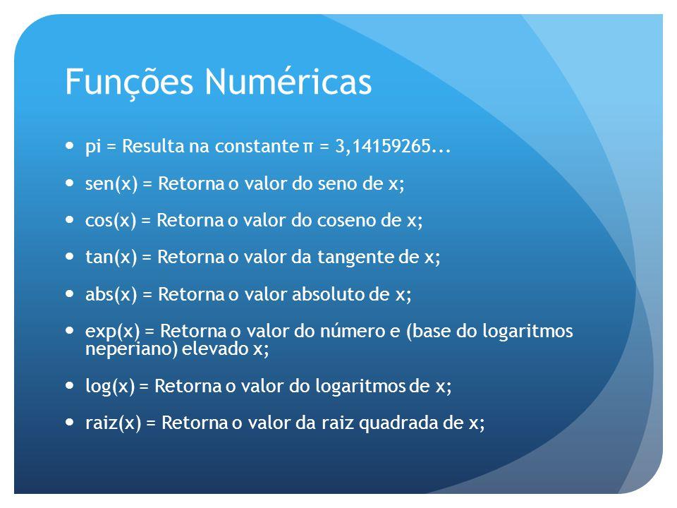 Funções Numéricas pi = Resulta na constante π = 3,14159265...