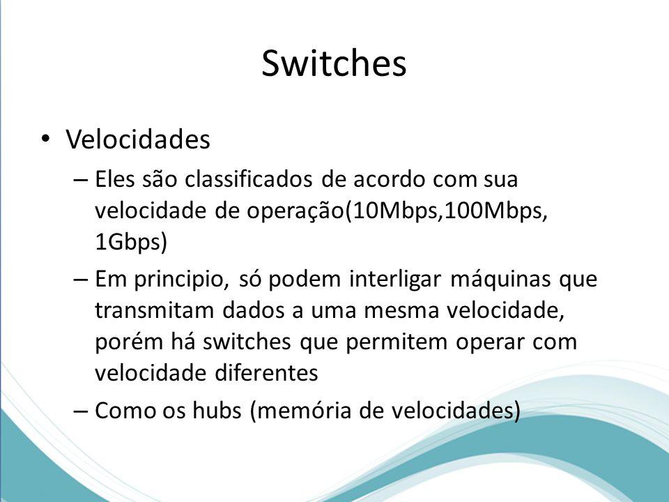 Switches Velocidades. Eles são classificados de acordo com sua velocidade de operação(10Mbps,100Mbps, 1Gbps)