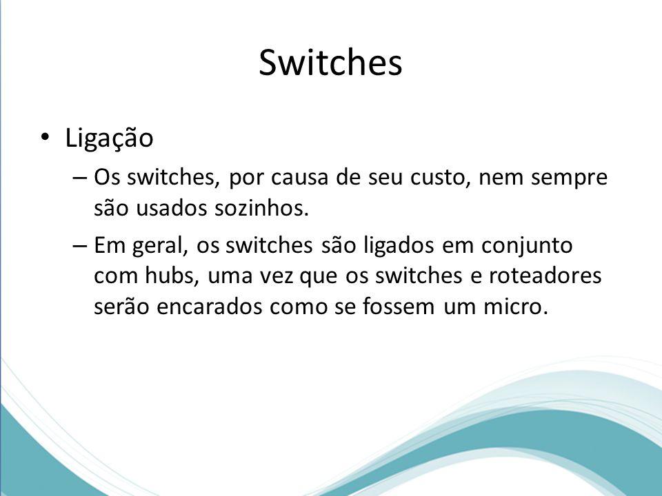 Switches Ligação. Os switches, por causa de seu custo, nem sempre são usados sozinhos.