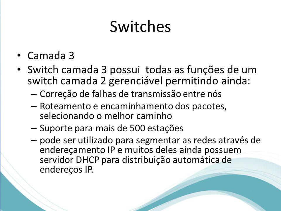 Switches Camada 3. Switch camada 3 possui todas as funções de um switch camada 2 gerenciável permitindo ainda: