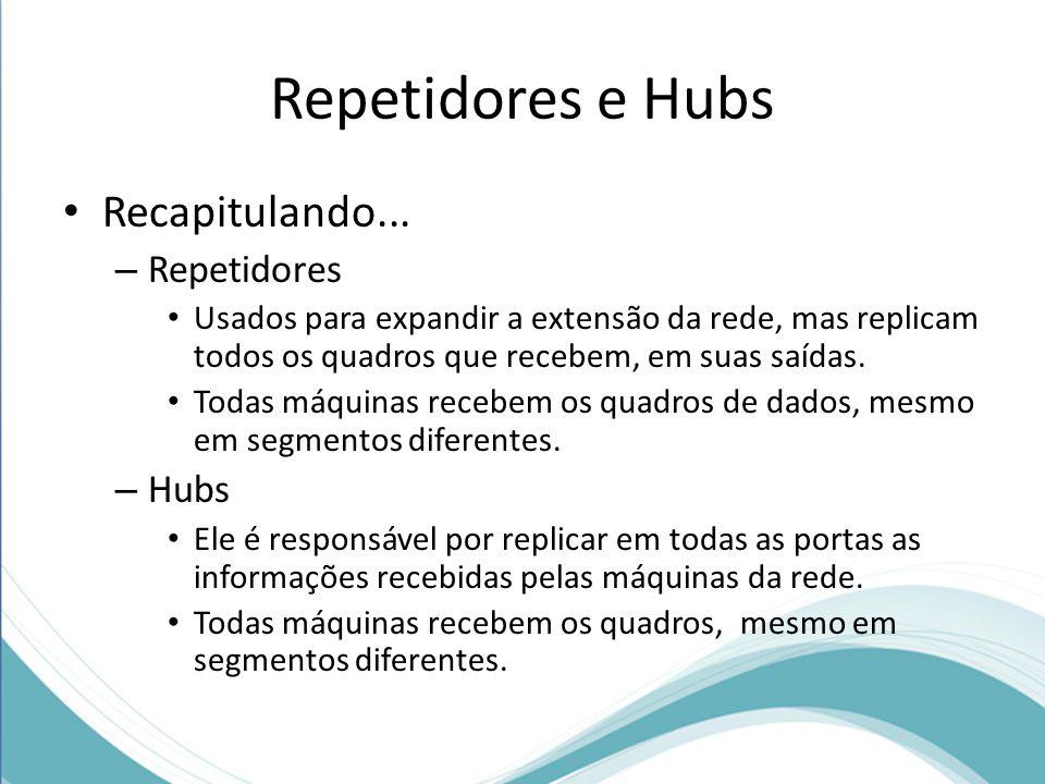 Repetidores e Hubs Recapitulando... Repetidores Hubs