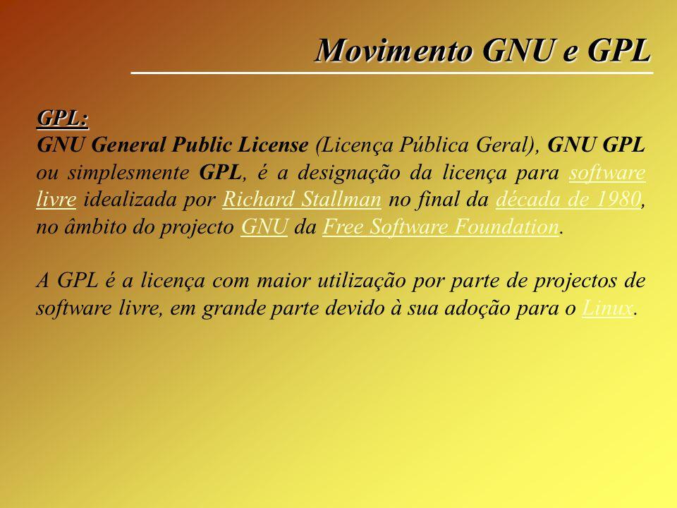 Movimento GNU e GPL GPL: