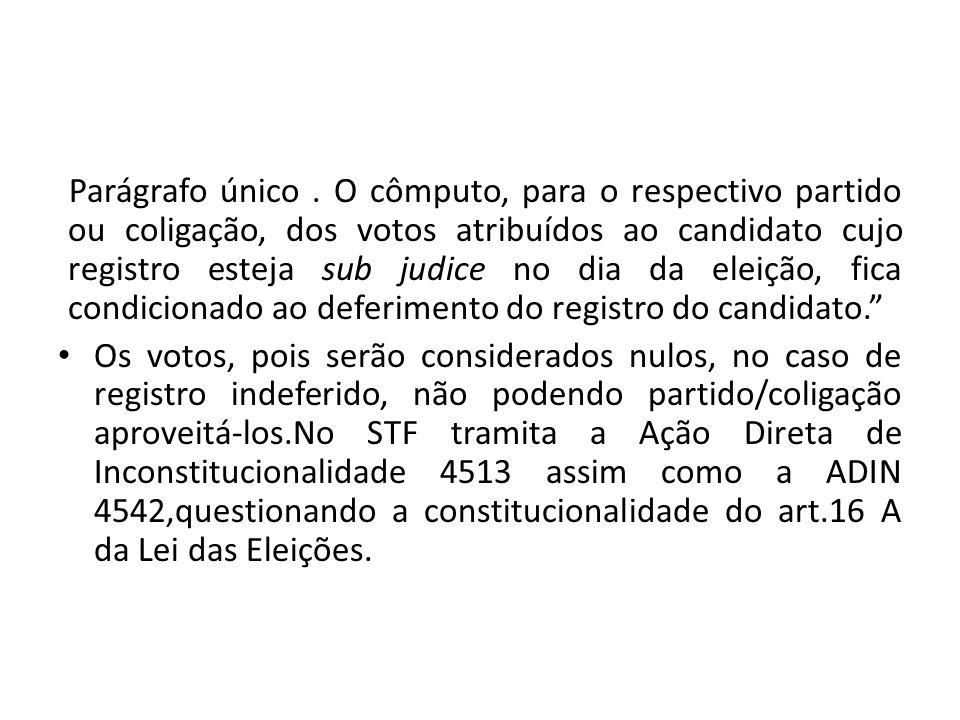 Parágrafo único . O cômputo, para o respectivo partido ou coligação, dos votos atribuídos ao candidato cujo registro esteja sub judice no dia da eleição, fica condicionado ao deferimento do registro do candidato.