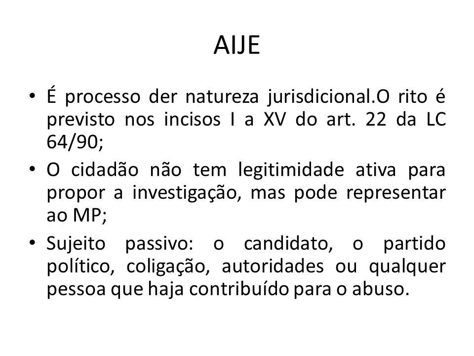AIJE É processo der natureza jurisdicional.O rito é previsto nos incisos I a XV do art. 22 da LC 64/90;