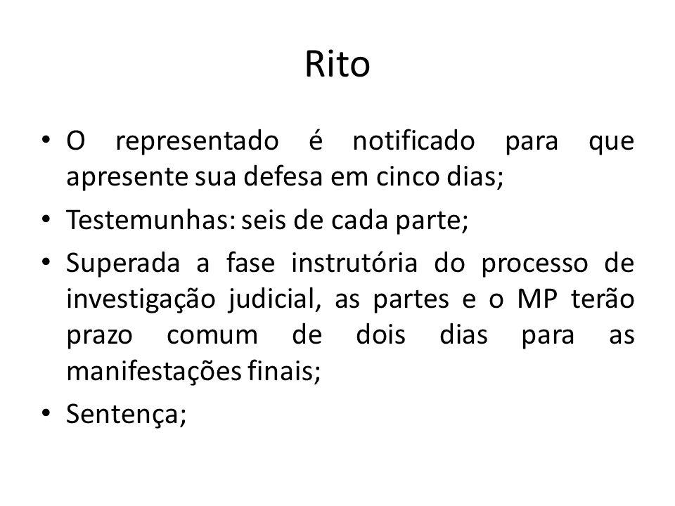 Rito O representado é notificado para que apresente sua defesa em cinco dias; Testemunhas: seis de cada parte;