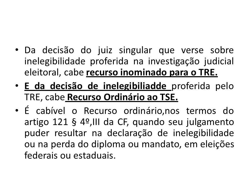 Da decisão do juiz singular que verse sobre inelegibilidade proferida na investigação judicial eleitoral, cabe recurso inominado para o TRE.
