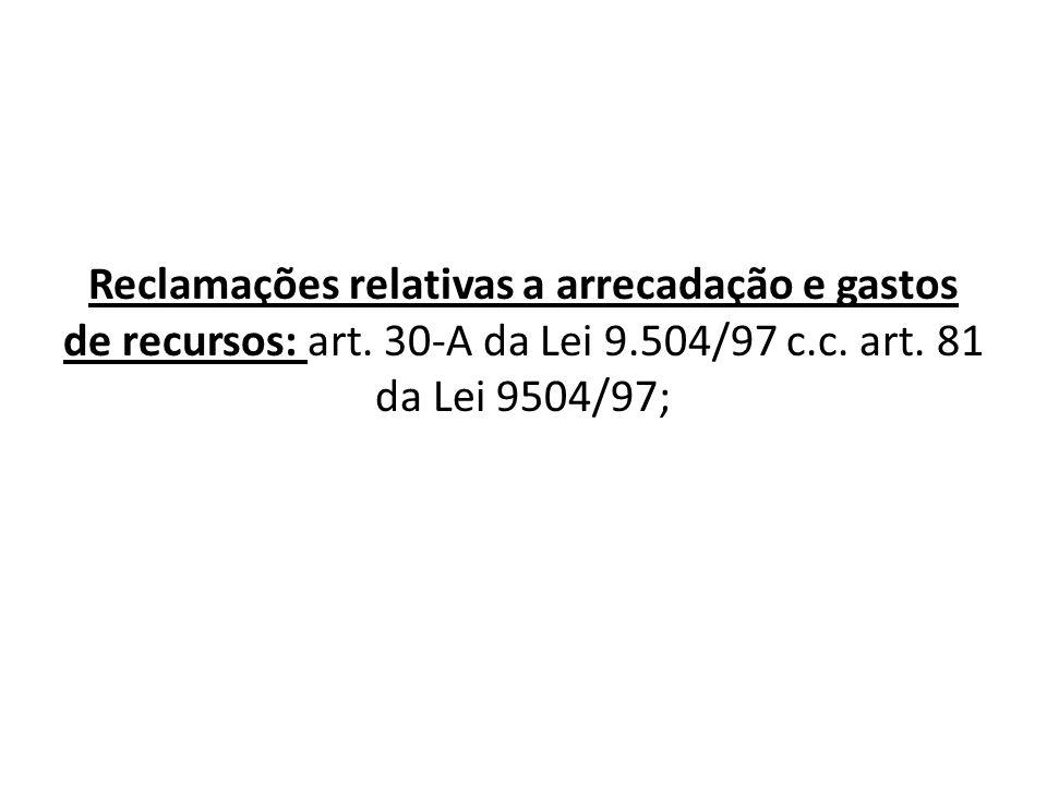 Reclamações relativas a arrecadação e gastos de recursos: art