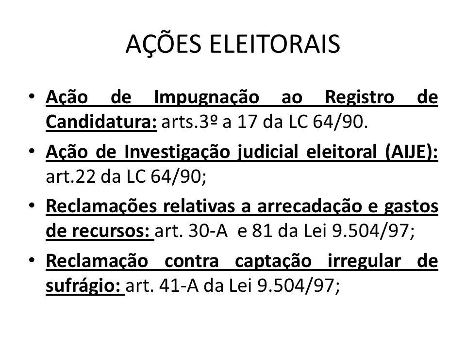 AÇÕES ELEITORAIS Ação de Impugnação ao Registro de Candidatura: arts.3º a 17 da LC 64/90.