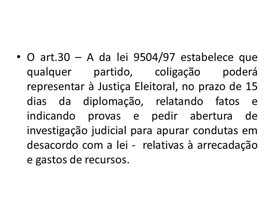 O art.30 – A da lei 9504/97 estabelece que qualquer partido, coligação poderá representar à Justiça Eleitoral, no prazo de 15 dias da diplomação, relatando fatos e indicando provas e pedir abertura de investigação judicial para apurar condutas em desacordo com a lei - relativas à arrecadação e gastos de recursos.