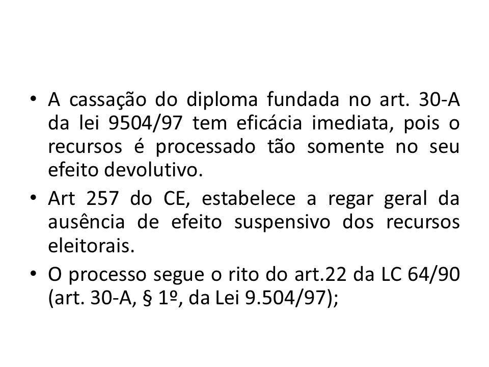 A cassação do diploma fundada no art