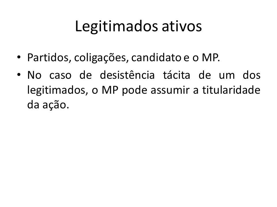 Legitimados ativos Partidos, coligações, candidato e o MP.