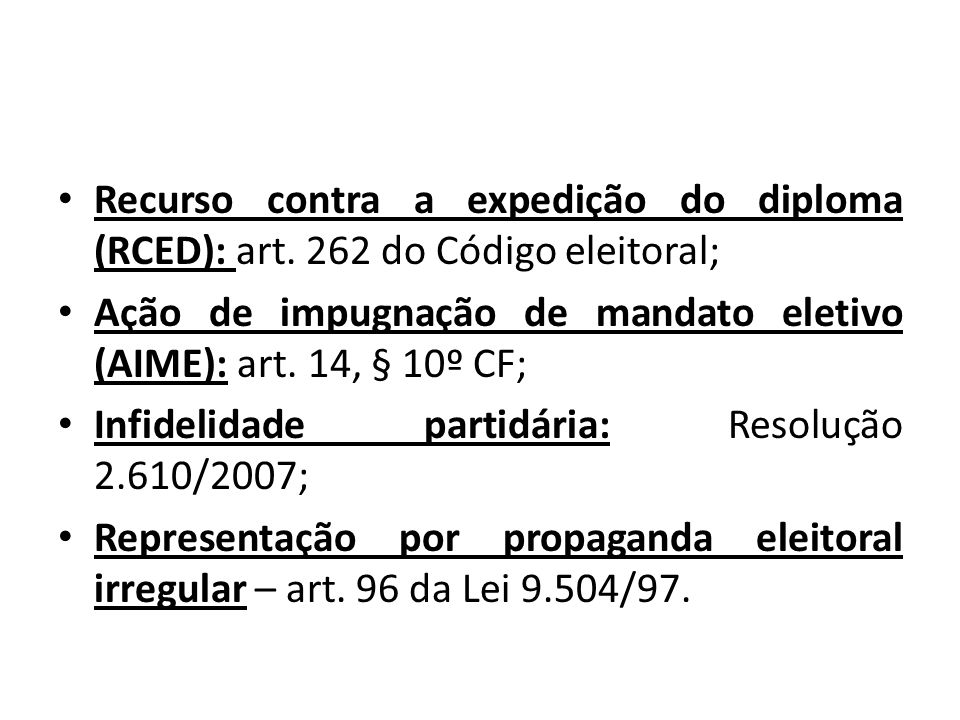 Recurso contra a expedição do diploma (RCED): art